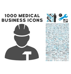 Builder Person Icon with 1000 Medical Business vector image