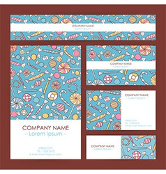 Business Set Template with Hand Drawn Sweets vector