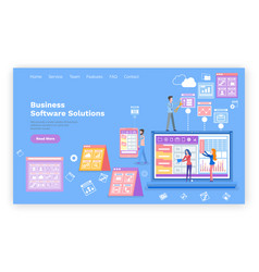 business software solution web page with text vector image