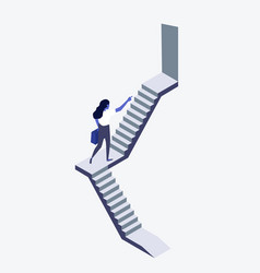 businesswoman walking up staircase concept vector image