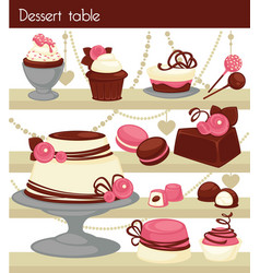 Candy bar or dessert buffet table vector