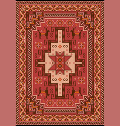 Carpet with red mauvebrown beige and orange vector