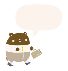 Cartoon bear in work clothes and speech bubble in vector