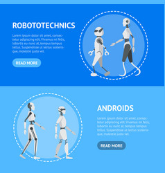 cartoon color android robots banner horizontal set vector image