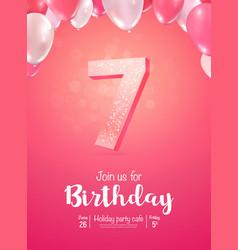 celebrating 7 years birthday 3d vector image