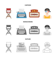 Chair of the director typewriter cinematographic vector
