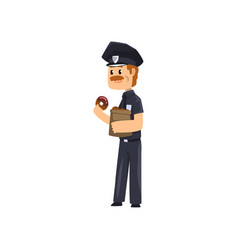 cheerful police officer in blue uniform eating vector image
