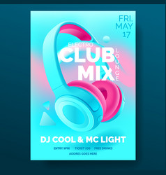 club poster with headphones dance party flyer vector image