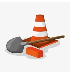 Cone shovel and brick of under construction design vector