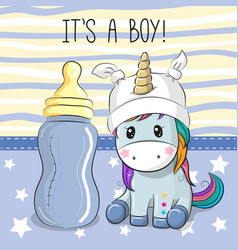 Cute cartoon unicorn with feeding bottle vector