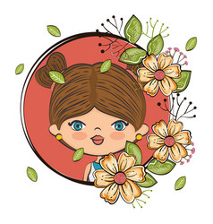 Cute girl character with floral frame vector