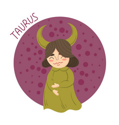 cute zodiac sign - taurus vector image