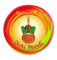Dahi handi earthen pot with makhan and coconut vector