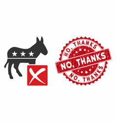 decline democratic icon with grunge no thanks vector image