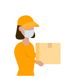 delivery woman with a parcel in her hands in face vector image