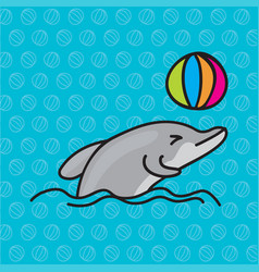Dolphins playing ball vector