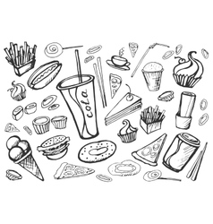 Doodle Fast Food vector