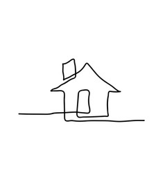 drawing a continuous line house vector image