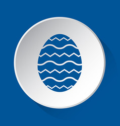 easter egg with waves - blue icon on white button vector image