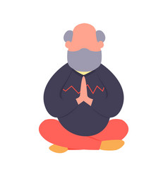 Elderly man meditating in a lotus pose simple vector