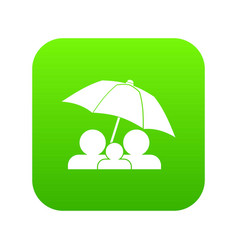 family under umbrella icon digital green vector image
