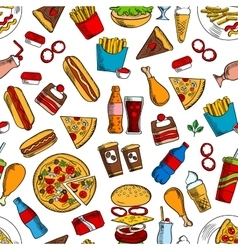 Fast food snacks and beverages seamless background vector image