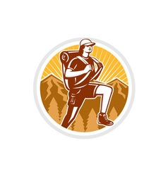 Female Hiker Hiking Mountain Circle Retro vector image