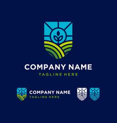 field farming agriculture logo design inspiration vector image