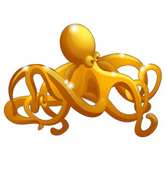 figure octopus made gold isolated on vector image