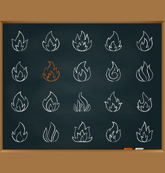 fire chalk draw line icons set vector image