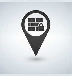Firewall map pointer icon vector
