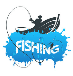 Fisherman in a boat vector