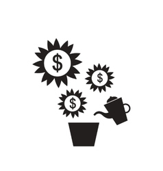 Flat icon in black and white money tree vector