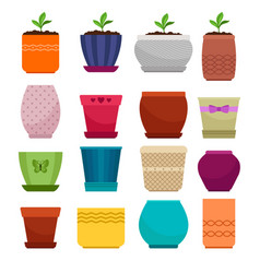 Flowerpot and ethnic simple vase collection vector