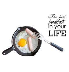 Fried eggs and sausage on pan food ingredients vector