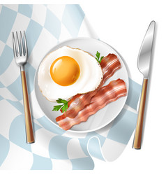 Fried eggs with bacon strips and parsley vector