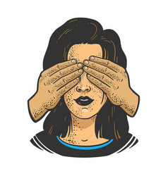Girl with covered eyes hands sketch vector