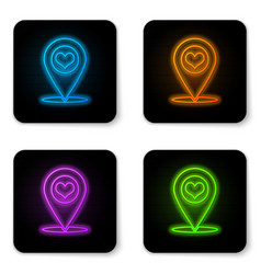 glowing neon map pointer with heart icon isolated vector image