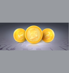Gold symbols cryptocurrencies with bitcoin mark on vector