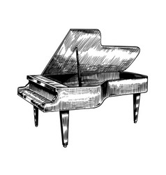grand piano in monochrome engraved vintage style vector image
