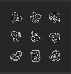 Grocery food chalk white icons set on black vector