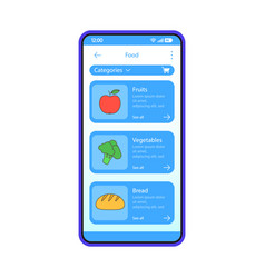 Grocery store app interface template vector