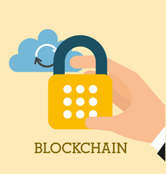 Hand cyber security cloud computing blockchain vector