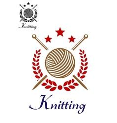 Hand knitting emblem vector image