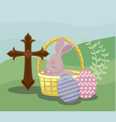 happy easter day card with cute rabbit in wicker vector image
