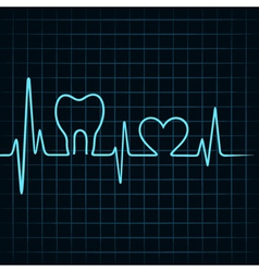 Heartbeat make a teeth and heart symbol vector