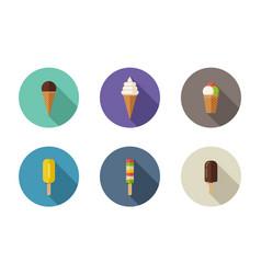 ice cream flat icons vector image