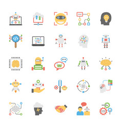 Icons collection of artificial intelligence in fla vector