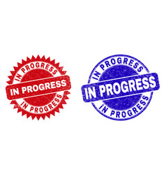 in progress rounded and rosette stamp seals with vector image