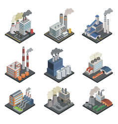 Industrial building factory isometric 3d elements vector